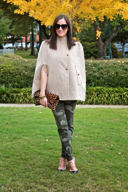 Wake Up Your Wardrobe What I Wore: Caped Crusader Cape, Camo Pants, Rock Stud Heels, Clare Vivier