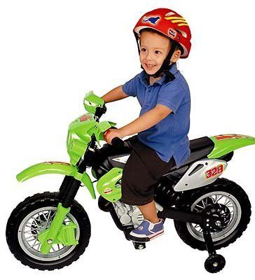 My First Motocross Racer by Pavlovz Toys. $99.95. Kids too young for real motocross bikes will absolutely love the My First Motocross Racer. Moms will be glad that its highest speed is 3 mph, but the sporty bright green and black bike looks like it means business. The My First Motocross Racer bike runs on a rechargeable 6V battery (included) for up to 45 minutes per charge. Beginning riders will like the training wheels for added stability and balance. For age...