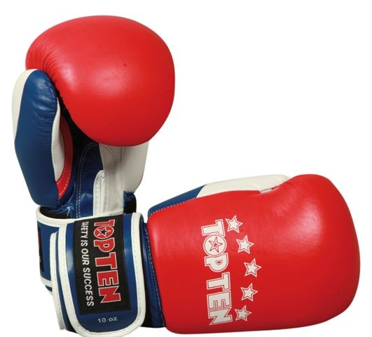Top Ten 10oz Fight Boxing Gloves - WAKO approved - Red, white and blue