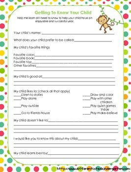 Free Kindergarten Student Interest Survey to be completed by the parents