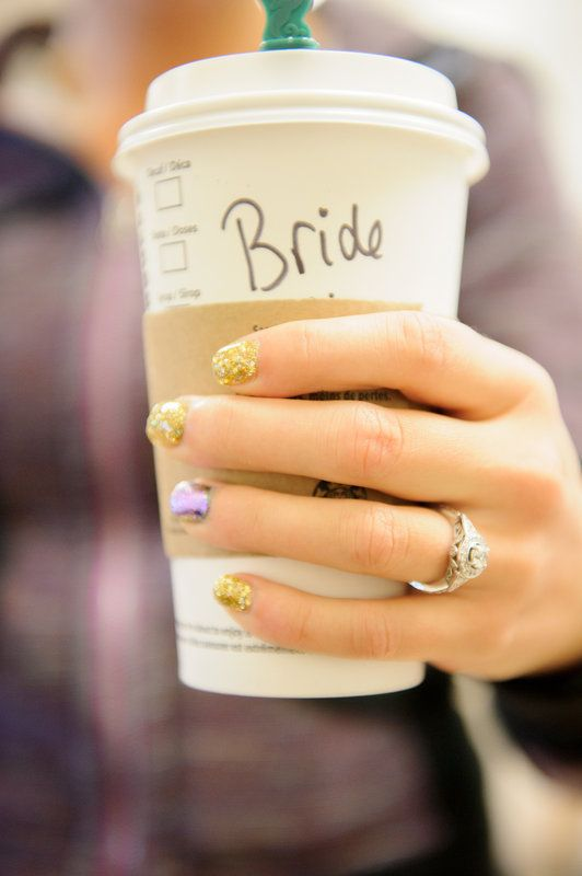 This is how I will start my wedding day...With a hot cup of Starbucks coffee.
