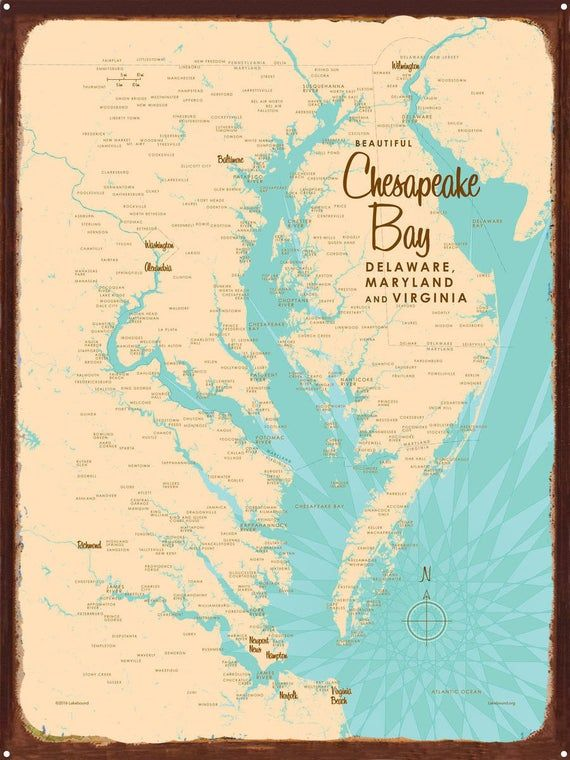 Chesapeake Bay Maryland Virginia Rustic Metal Sign Map Art Etsy In 2021 Chesapeake Chesapeake Bay Map Art