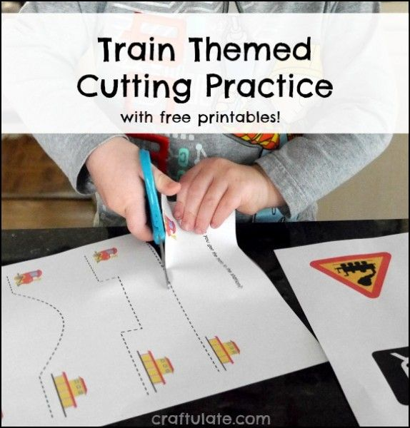 Train Themed Cutting Practice - with free printables! Great for working on fine motor skills.