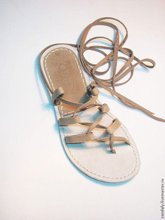 Купить Греческие сандалии №4 - бежевый, рыжий, сандалии из кожи, летняя обувь, натуральная кожа