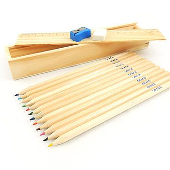 Personalised Retro Wooden Pencil Set