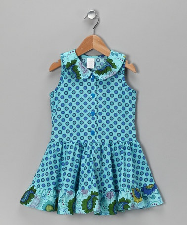 Take a look at this Aqua Paisley Babydoll Dress - Toddler & Girls by Blow-Out on #zulily today! MADE IN THE USA