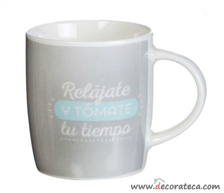 Tazas de desayuno con frases bonitas rel jate y t mate - Decoracion de tazas ...