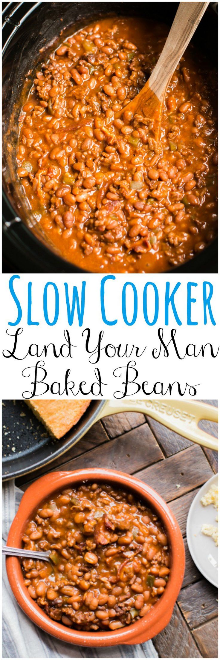 Slow Cooker Land Your Man Baked Beans. This vintage recipe is delish even if you don't need to land a man.