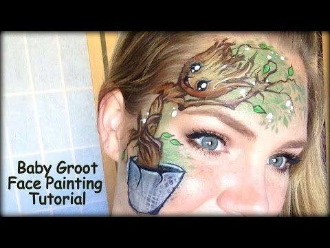 Baby Groot Face Painting using Kryvaline Face and Body Paint - YouTube