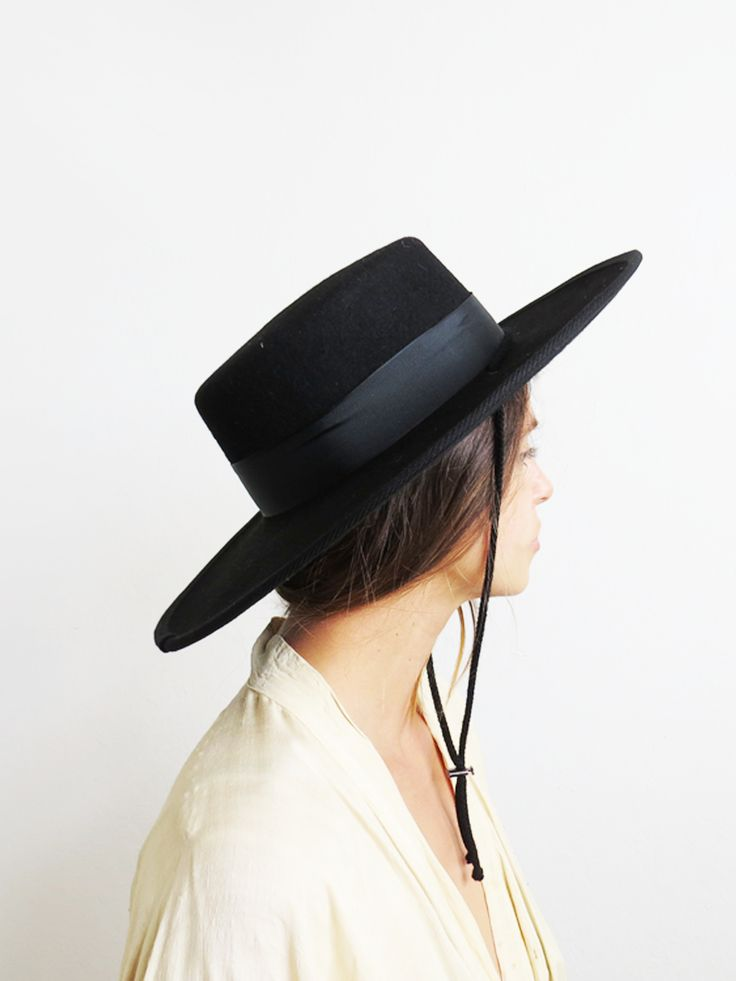 Black Bolero Hat // Spanish Flat Brim Hat #barnabyjack SOLD OUT