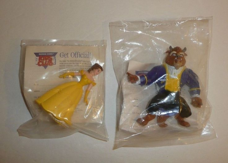 Lot of 2 Beauty and the Beast vtg Burger Kings Kids Meal Toys Figures Disney new #Disney