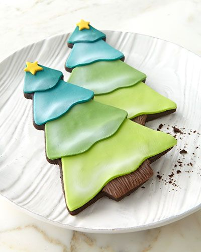FROSTED ART BAKERY Six Decorated Tree Cookies