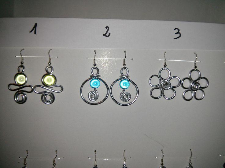 Boucles d'Oreilles Fil Aluminium Argenté à prix Mini : Boucles d'oreille par cathybijoux