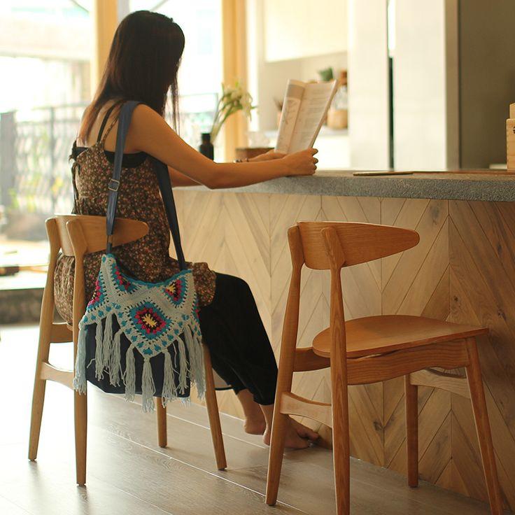 Handmade multi colours shoulder bag outdoor Bohemia bag purse Hand hooked fashion crochet blanket cushion felt pastoral style
