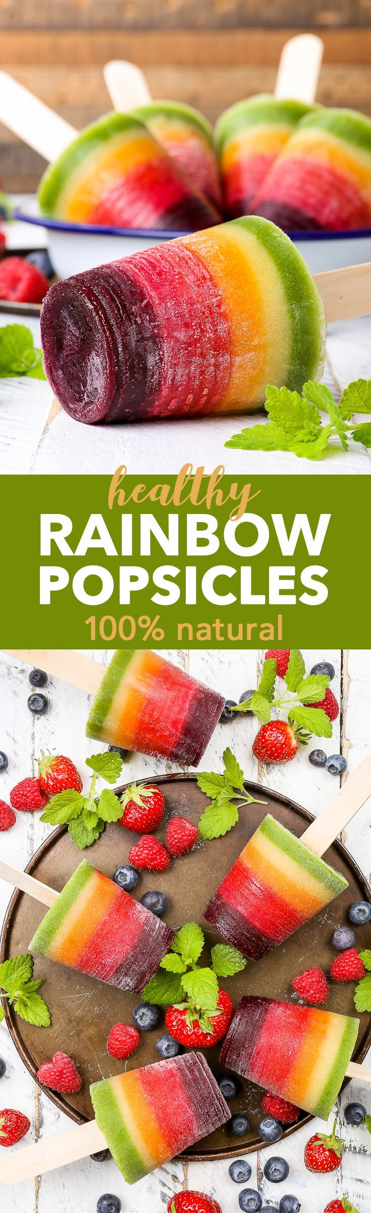 Healthy 100% Natural Rainbow Fruit Popsicles {gluten, dairy, egg, nut, soy & refined sugar free, vegan & paleo} - These healthy rainbow fruit popsicles are 100% natural, made with no artificial dyes or food colourings. Just wholesome, plant-based ingredie