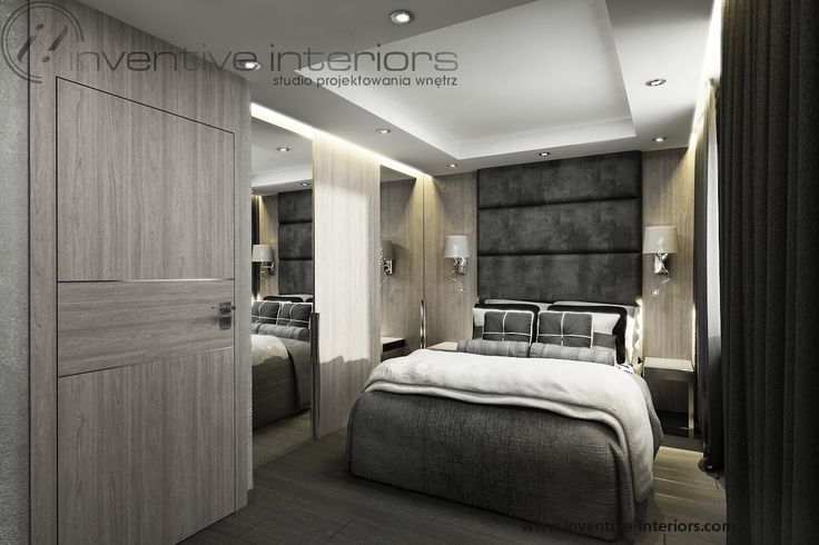 Projekt sypialni  Inventive Interiors - ciemne szare tapicerowanie na tle jasnego drewna