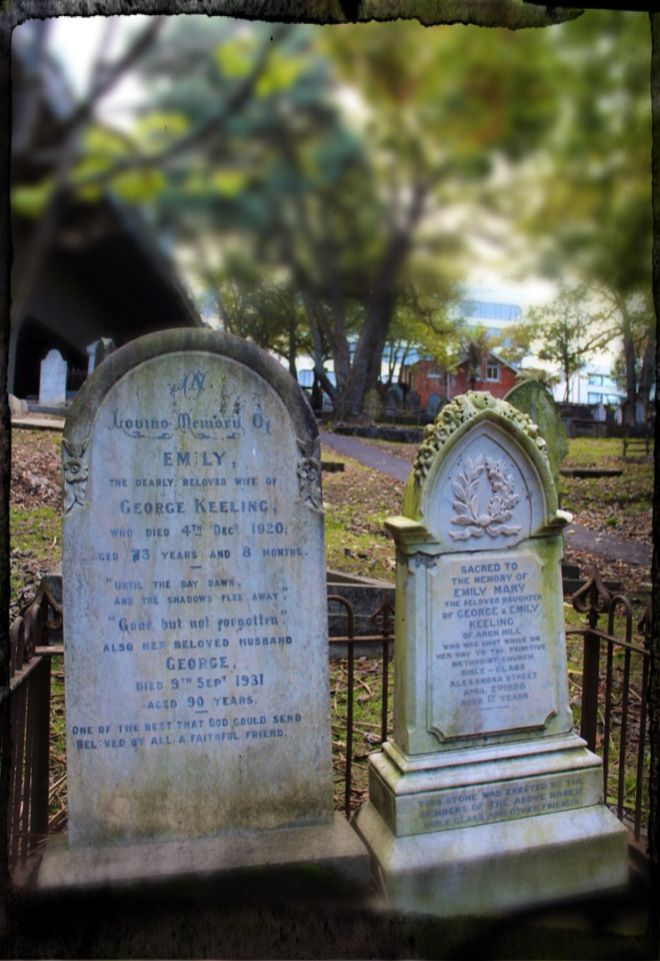 Buried next to, but many years before, her parents. George and Emily Keeling (snr) grew old, robbed of their only daughter. Photo: Su Leslie...