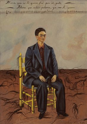 Kahlo painted Self-Portrait with Cropped Hair shortly after she divorced her unfaithful husband, the artist Diego Rivera. As a painter of many self- portraits, she had often shown herself wearing a Mexican woman's traditional dresses and flowing hair; now, in renunciation of Rivera, she painted herself short haired and in a man's shirt, shoes, and oversized suit (presumably her former husband's).