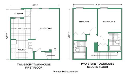 Floor plan two story townhouse tiny house ideas for 24x30 house plans