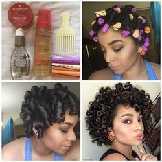 By @actually_ashly ▶️Heatless Curls◀️ Products used: ➡️#CremeofNature Argan Oil Style & Shine Foaming Mousse ➡️#OGX Coconut Milk Serum ➡️#CremeofNature Argan Oil Perfect Edges ➡️Orange, Creme, and purple perm rods (variety of curls) ➡️Pick for some volume  This is on dry hair. I brushed out an old twist out. Check out my other perm rod post to see/read step by step how to achieve a perm rod set