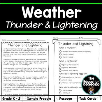 Weather unit for thunder and lightening.This is a sample freebie of a bigger unit. My goal for this unit was teaching about lightening and thunder. What to do when it thunders and you see lightening in terms of keeping safe. Learning about electricity in your home and how to be safe around it.You can purchase the full unit here Thunder and Lightning Weather Alert Hope this brings a smile to your day,Celeste DiDonatoThe Education…