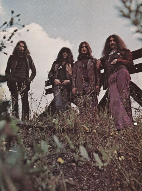 I love this image's faded look and that they're in the outdoors. --Pia (Black Sabbath #rocknroll #bellbottoms #rockstars #blacksabbath)