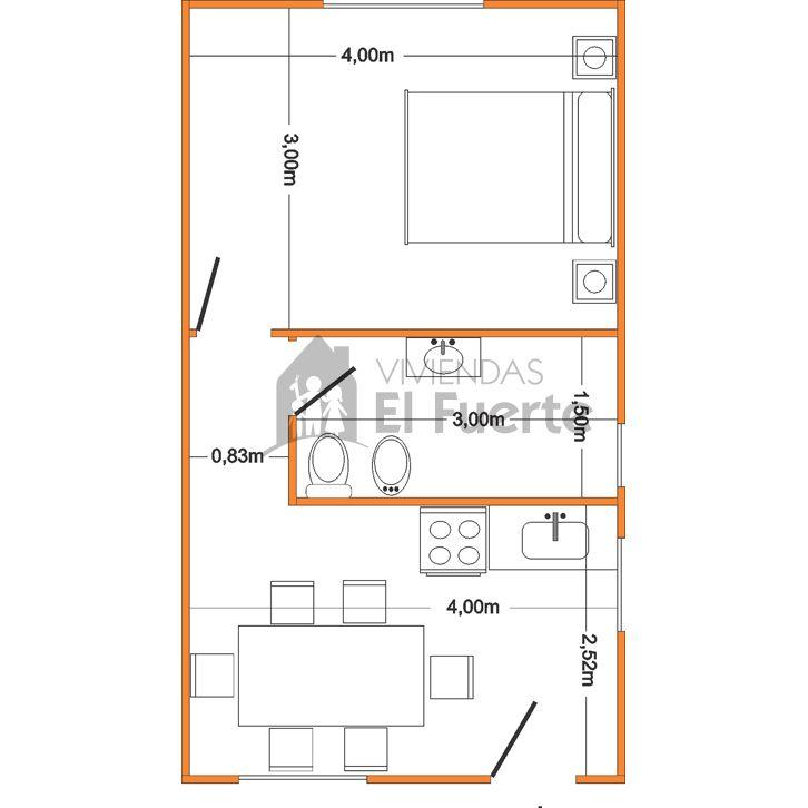 Modelo Serrana 30 1 Dormitorio Planos De Casas Sencillas Planos