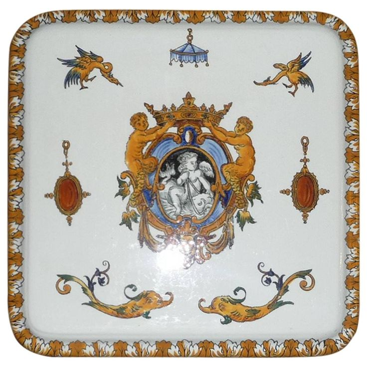 19th Century Squared Tablemat French Gien Faience Decor Renaissance $1,021.81