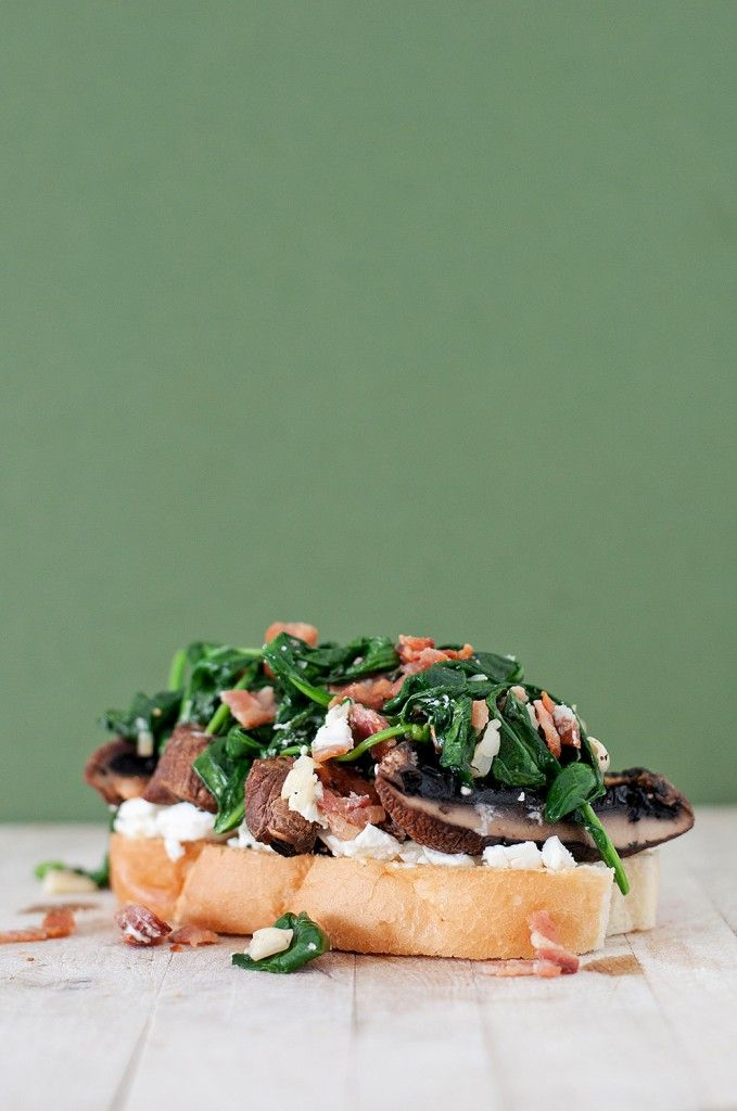 Spinach, Bacon & Goat Cheese Portobello Mushroom Sandwich