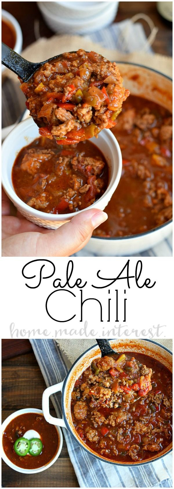 Easy chili recipe made with Pale Ale beer. Not made in the crock pot but on the stove top is perfect for your game day party this football season. Craft beer is a huge trend so this Pale Ale Chili is sure to be a hit. This game day chili is hearty and full of flavor.
