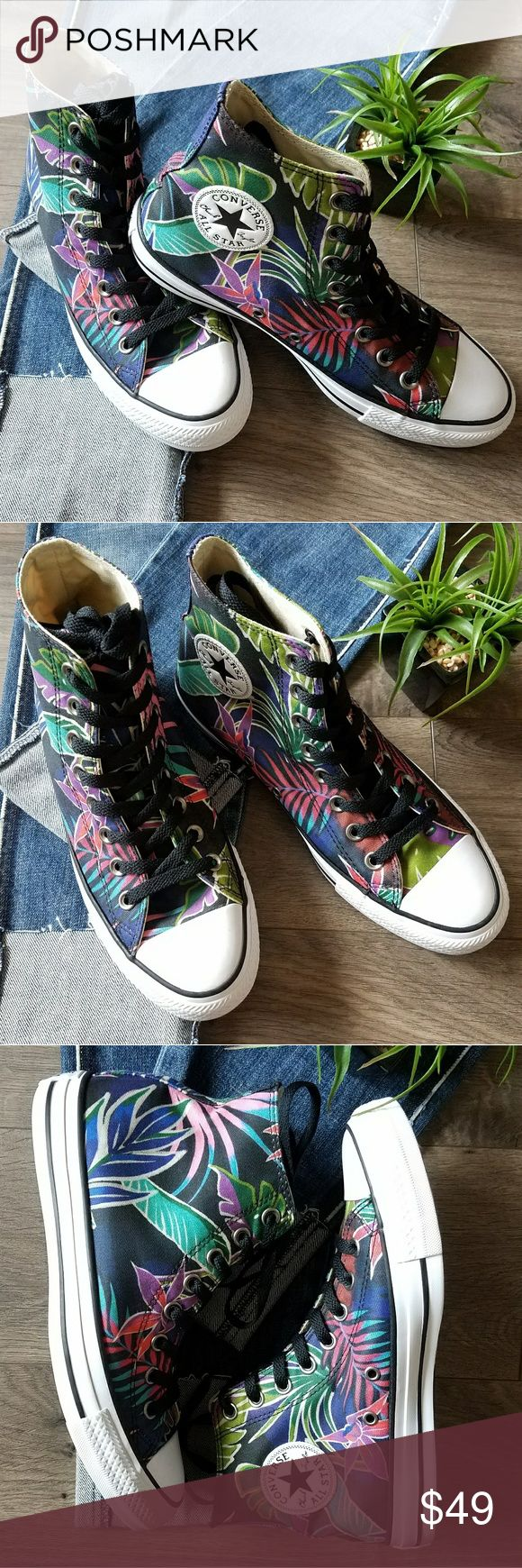 PRICE DROP⬇ Converse high tops New without box.  Converse high tops in a fun tropical print.  Canvas upper witj cushioned footbed for comfort.  Versatile and perfect with jeans, shorts, skirts, and dresses!  Smoke free and pet free home. Converse Shoes Sneakers