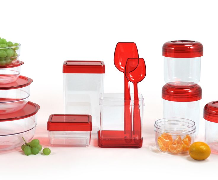 Suomessa valmistettu keittiön järjestyksessäpitoon tr-punainen sarja! Manufactured in Finland these kitchen products with advanced quality and attractive transparent- red combination.