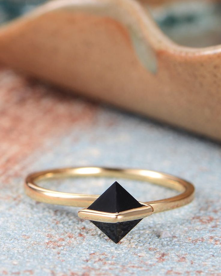 Black Onyx Engagement Ring Yellow Gold Stacking Unique Simple Dainty Delicate Minimalist Solitaire Thin Gift for Her Women by GemsBox on Etsy https://www.etsy.com/listing/549257333/black-onyx-engagement-ring-yellow-gold