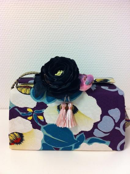 Box shape bag made from antique Kimono. Flower is also Kimono fabric.