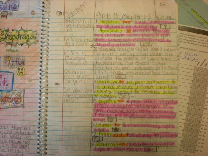 Cornell notes with color, cue questions,and detailed notes.- Language Arts Student Interactive Notebook