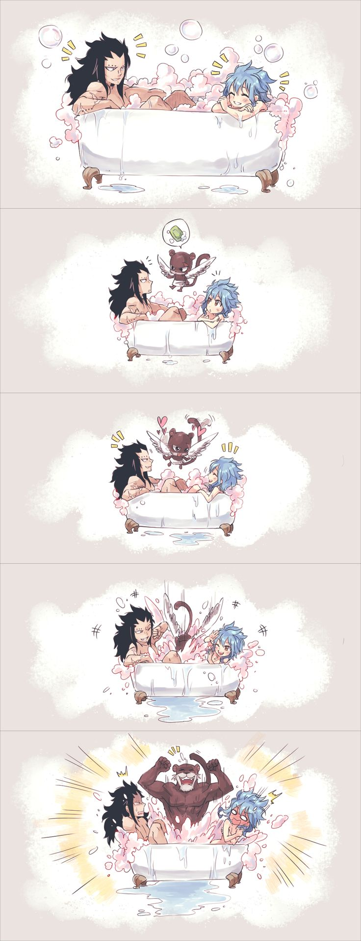 Fairy Tail - Gajeel, Lily panther and Levy