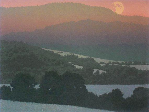 Zomer maan, Linosnede afdrukken door William H. Hays