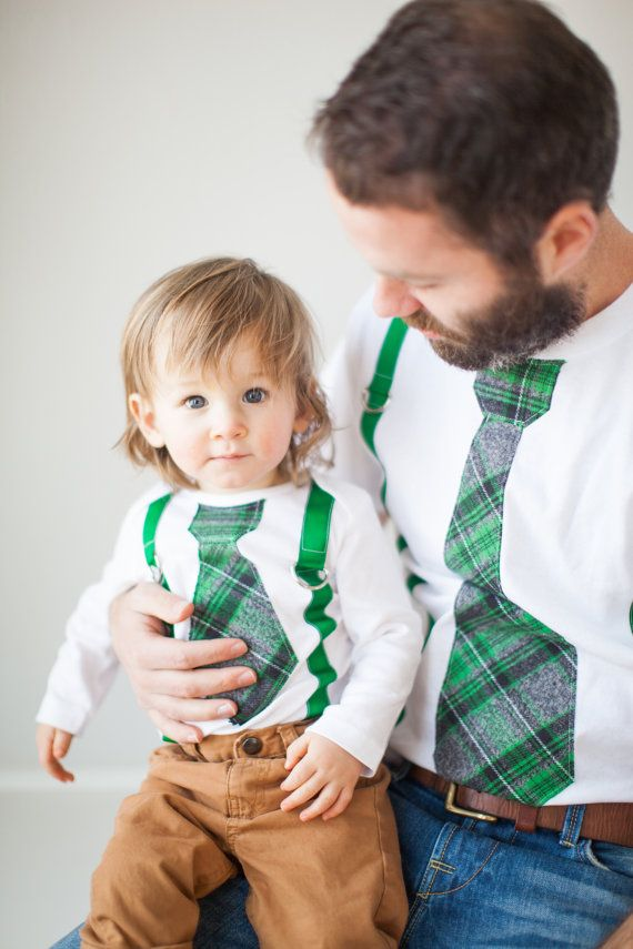 Tie & Suspenders St Patrick's Day Father Son Set. Father's Day. Baby Boy Bodysuit. Luck of  Irish Saint Patty's Day Green Plaid Gray Black - SO PRECIOUS