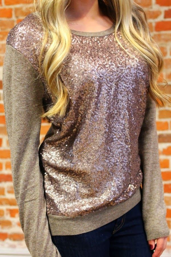 Lovely Sparkly Sweater Fashion Style For Fall