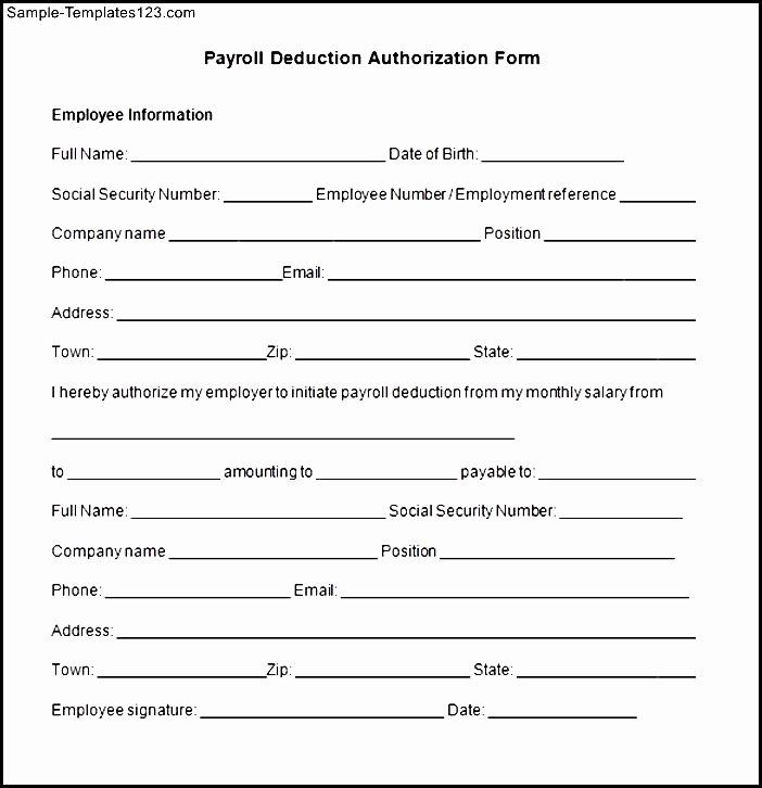 Payroll Deduction Authorization Form Template Unique Payroll