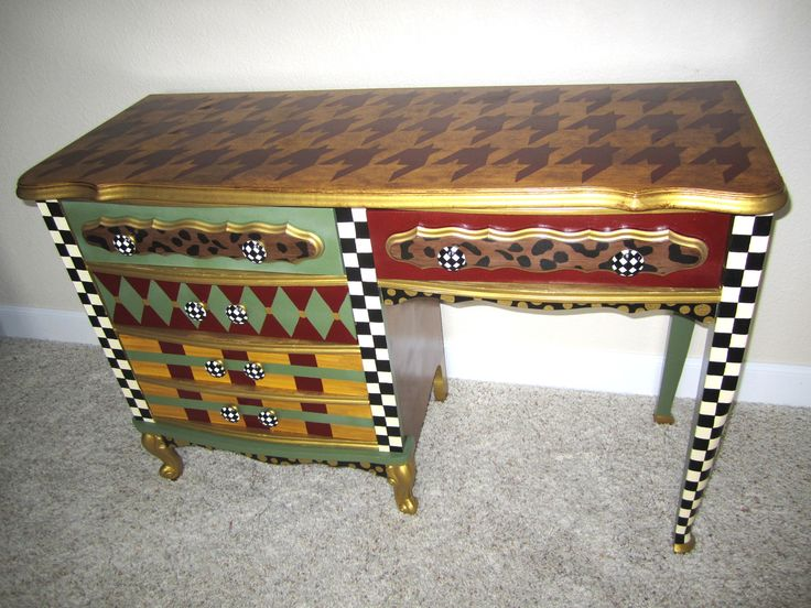 colorful furniture for sale. on sale french provincial vintage desk hand painted funky furniture leopard harlequin check plaid houndstooth colorful for sale