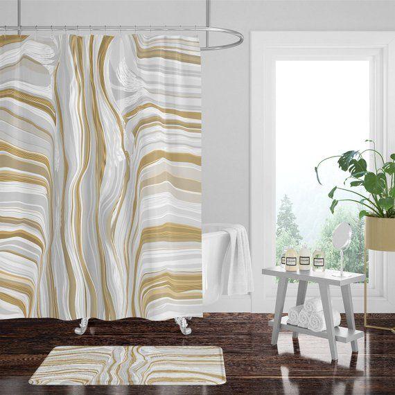 Boho Chic White And Gold Shower Curtain W Bathmat Set Options