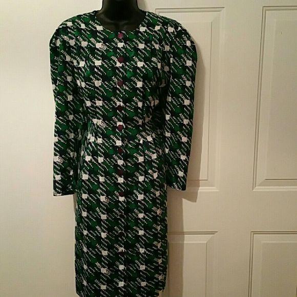 Vintage button up dress 100% polyester Navy blue green and white button up dress with purple buttons Dresses Long Sleeve