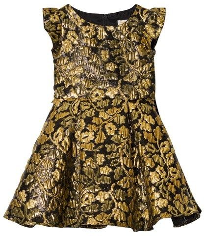 David Charles Black and Gold Brocade Dress