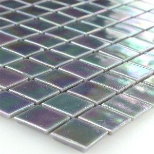 Mozaïektegel Glas Paarlemoer Effect 20x20x4mm Grijs - Mosafil