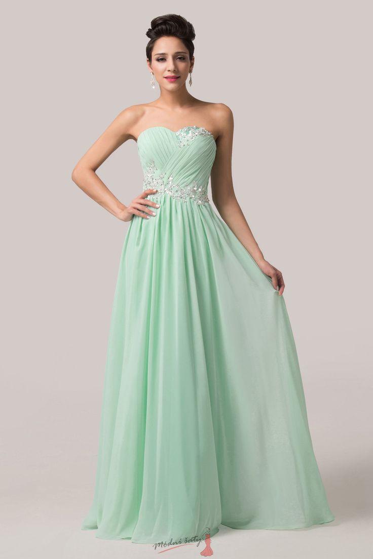 Plesové zelenkavé šaty bez ramínek