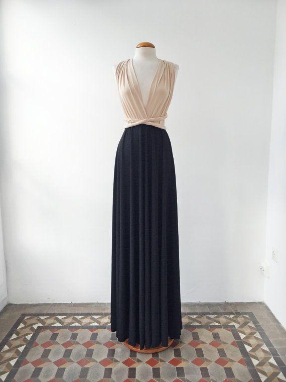 Nude Black dress, nude long dress, black long dresses, evening gown, two color bridesmaid dresses weddings, bridesmaid nude long dress event