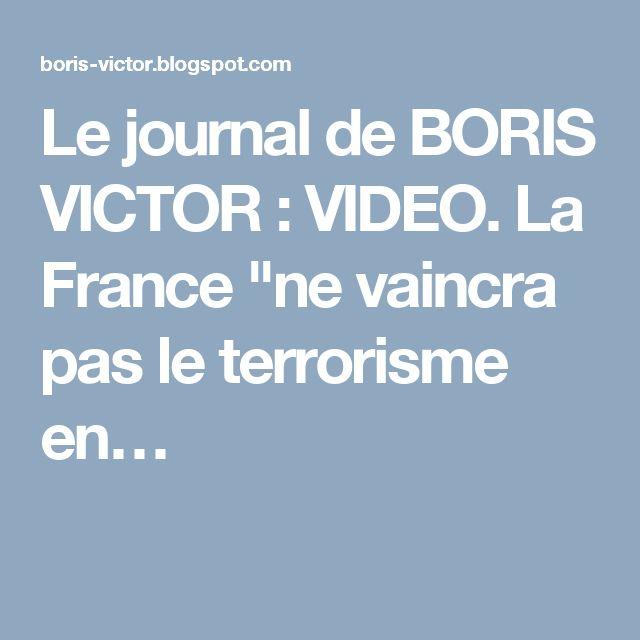 """Le journal de BORIS VICTOR : VIDEO. La France """"ne vaincra pas le terrorisme en…"""