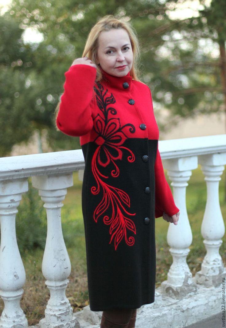 """Купить Пальто трикотажное """"Жар-птица"""" - разноцветный, цветочный, пальто женское, вязанное пальто"""