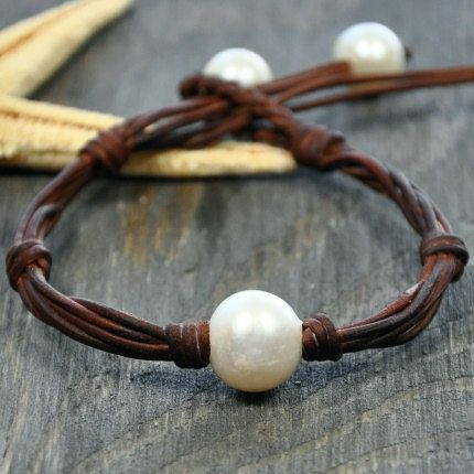 Cape Cod Multi Strand Pearl and Leather Bracelet chosen by style editor of FOOD and WINE MAGAZINE. $89.00, via Etsy.